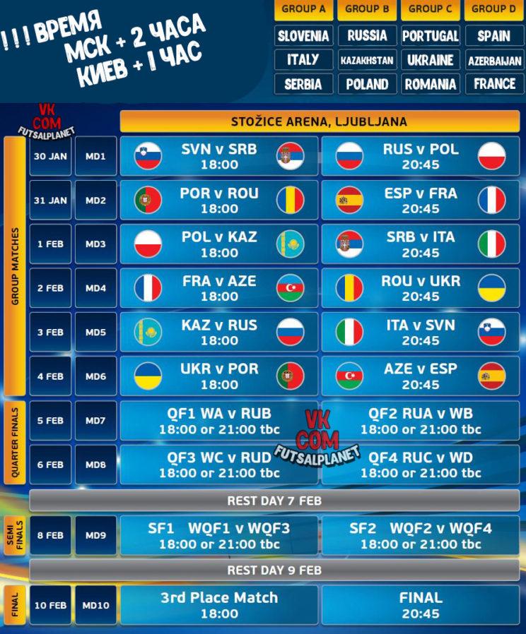 футзал,евро2018,schedule,futsal
